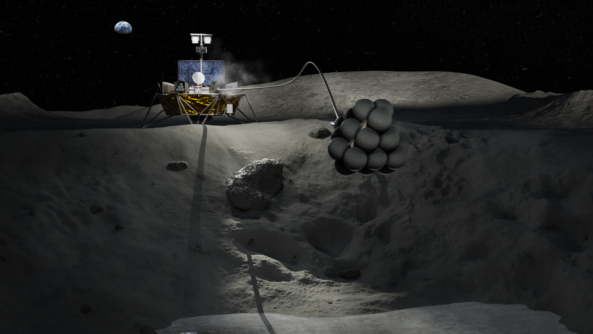 Artist's impression of robotic lunar explorer tethered to an airbag-covered landing pod on the lunar surface. Earth is waxing in the background.